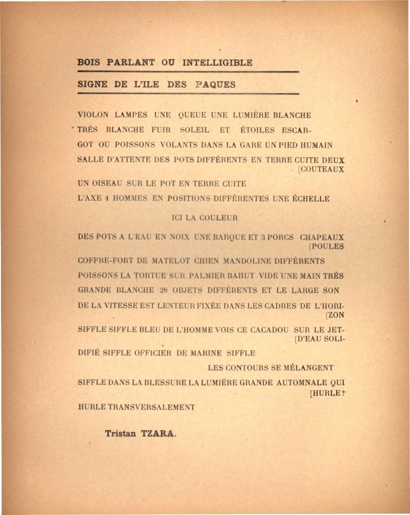 Ил. 4. Тристан Тцара. «Говорящая деревяшка, или Разумный знак с острова Пасхи»